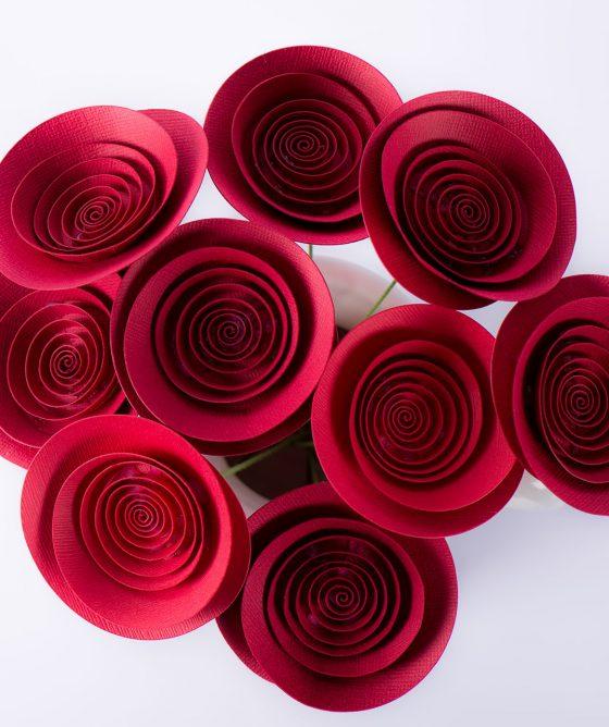 """Fiori di carta – Mazzo """"Rose rosse per te"""""""